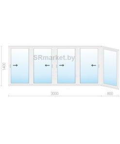 Балконная рама 3800 1400
